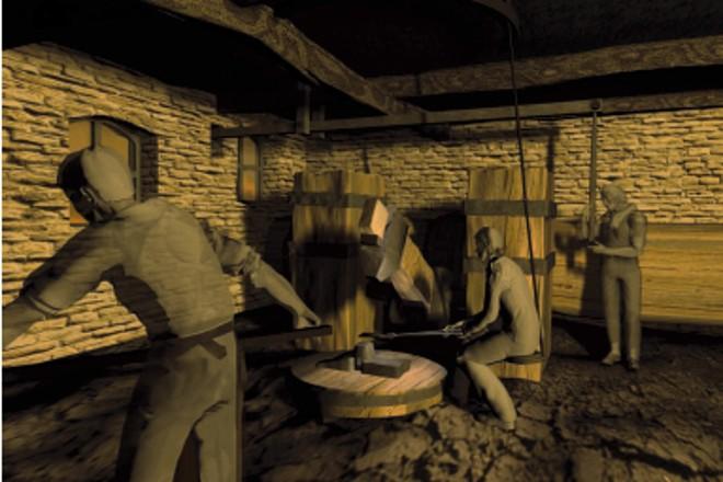 Darstellung: Blick in das Innere des Hammergebäudes