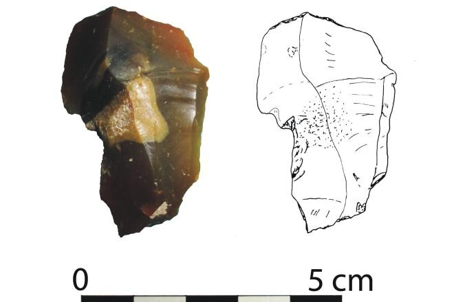 Foto: Das 2015 gefundene steinzeitliche Gerät aus Feuerstein