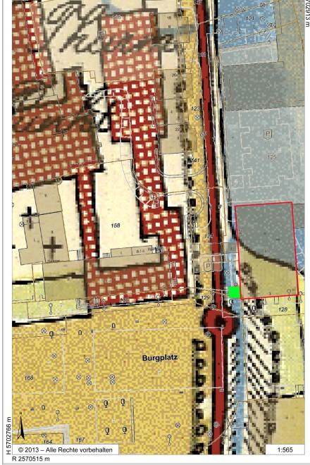 Abbildung: So genannte Honigmann´sche Karte von 1803/06. Rechts, in der Bildmitte das gekennzeichnete Haus Burgplatz drei und die davor liegende Baugrube (grün)