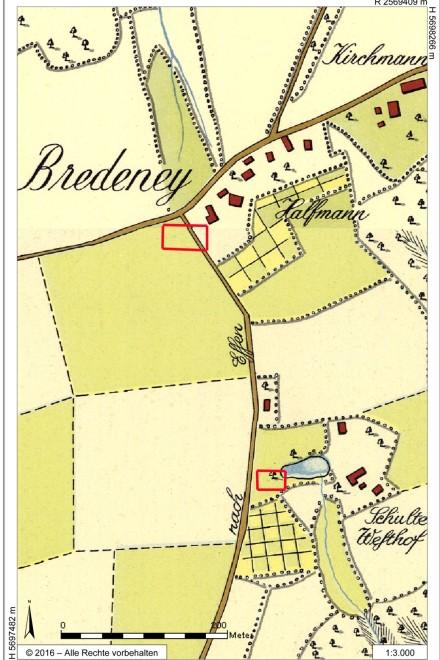 Abbildung: Ausschnitt aus der so genannten Honigmann´schen Karte mit Kennzeichnung der Baustellen