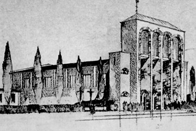 Grafik: Die alte Heilig-Geist-Kirche in Katernberg