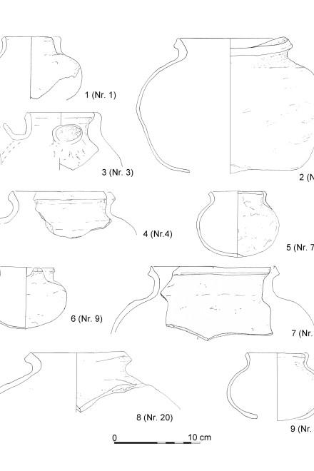 Grafik: Kugeltöpfe aus der vermuteten Ofenfüllung