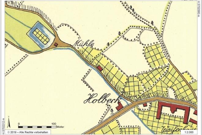 Ausschnitt aus der so genannten Honigmann'schen Karte vom Beginn des 19. Jahrhunderts