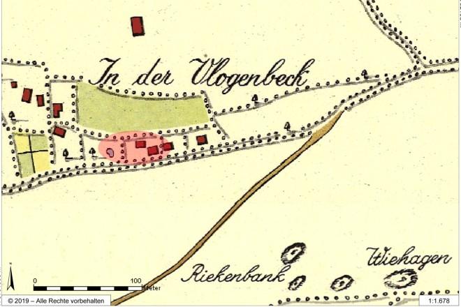 Abbildung: Auszug aus der sogenannten Honigmannkarte von 1803/06. Am unteren Bildrand sind Kohleschürfe auf der Karte eingetragen.