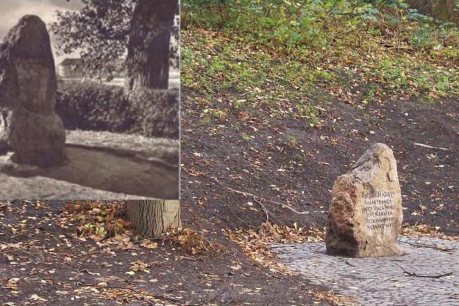Gedenkstein am alten und neuen Ort