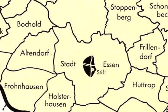 Die historische Karte zeigt die Ausdehnung der Stadt Essen im Jahr 1802