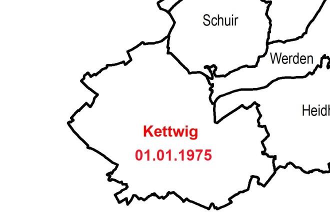 Karte mit den letzten beiden Eingemeindungen von Burgaltendorf 1970 und Kettwig 1975