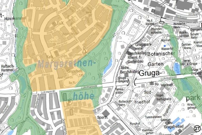 Aktuelle Karte mit Markierung der Flächen der Margarethenhöhe und der Promenadenschenkung