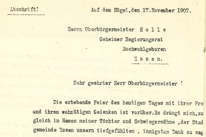 Anschreiben von Margarethe Krupp an die Stadt Essen bzgl. der Schenkung von Grundstücken