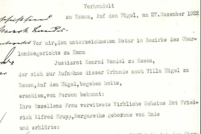 Vertrag zwischen Frau Margarethe Krupp und der Stadt Essen zur Übereignung von Grundstücke für öffentliche Anlagen.