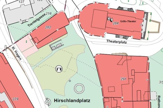 Aktuelle Liegenschaftskarte im Bereich Lindenallee, Kettwiger Straße