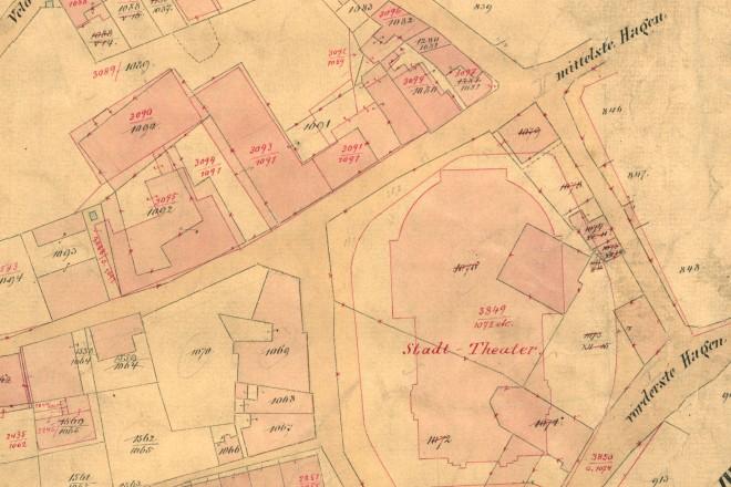 Historische Karte der südlichen Innenstadt von 1895