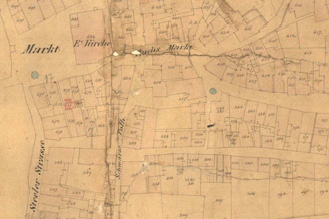 Historische Karte der Marktkirche und Flachsmarkt