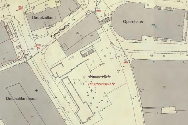 Historische Karte vom Bereich Hirschlandplatz
