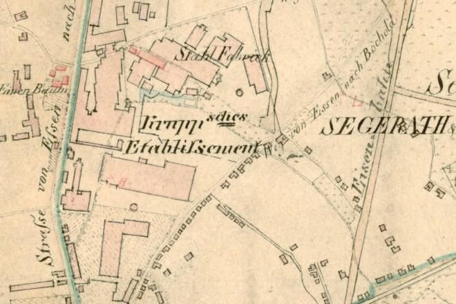 Historische Karte der Gemarkung Essen aus dem Jahr 1821
