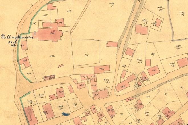 Katasterkarte mit einzelnen Parzellen von 1867