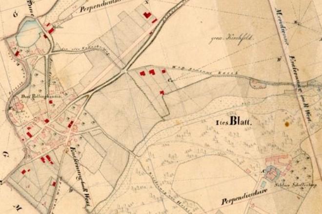 Historische Karte der Gemarkung Rellinghausen aus dem Jahr 1821