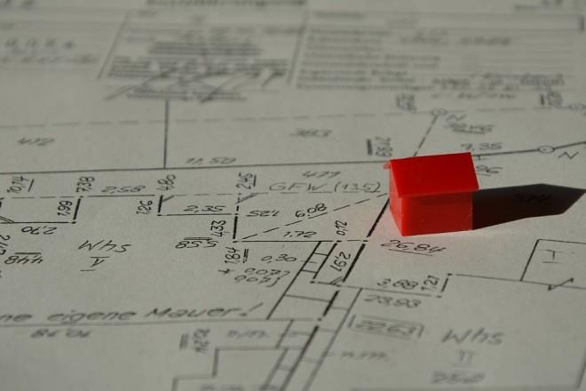 Kartenausschnitt, auf dem ein Gebäudemodell steht