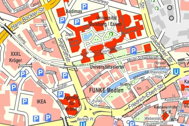Kartenausschnitt Stadtplan Essen