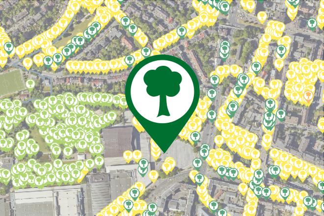 Kartenausschnitt Baumbewässerung in Essen