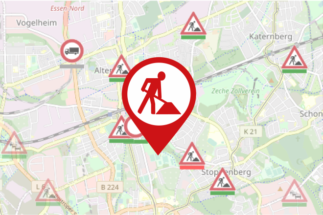 Kartenausschnitt Baustelleninformation Stadt Essen