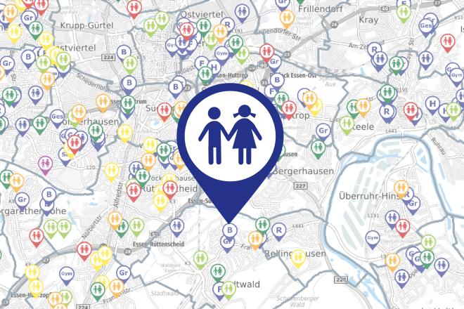 Kartenausschnitt Kitas und Schulen in Essen