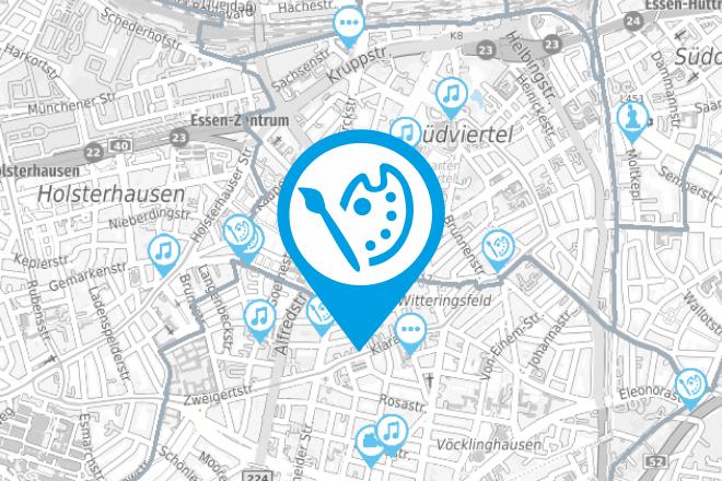 Kartenausschnitt Kulturstandorte in Essen