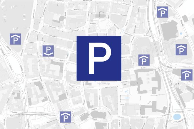 Kartenausschnitt Parken in der Essener Innenstadt