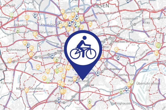 Kartenausschnitt Radverkehrsnetz Essen