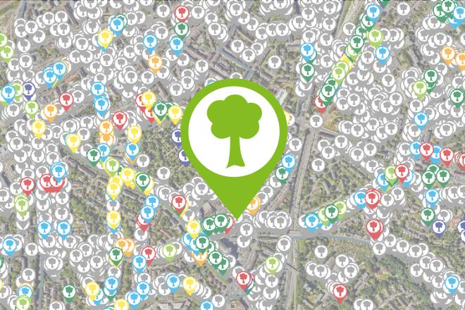Kartenausschnitt Stadtbäume in Essen