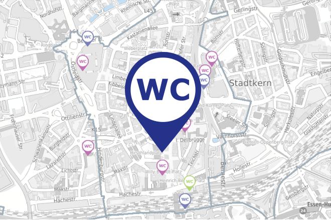 Kartenausschnitt Toiletten in der Essener Innenstadt