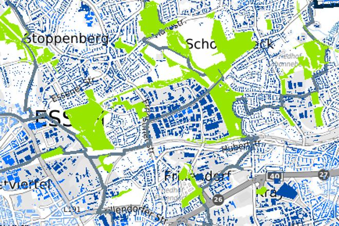Kartenausschnitt Waldökosystemleistungen in Essen