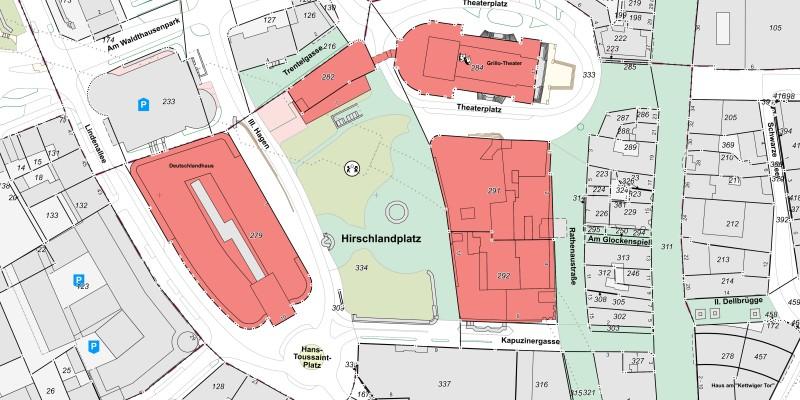 Kartenausschnitt Liegenschaftskarte der Stadt Essen