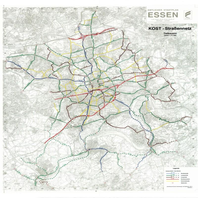 Plan Bundes-, Landes-, Kreisstraßen in Essen