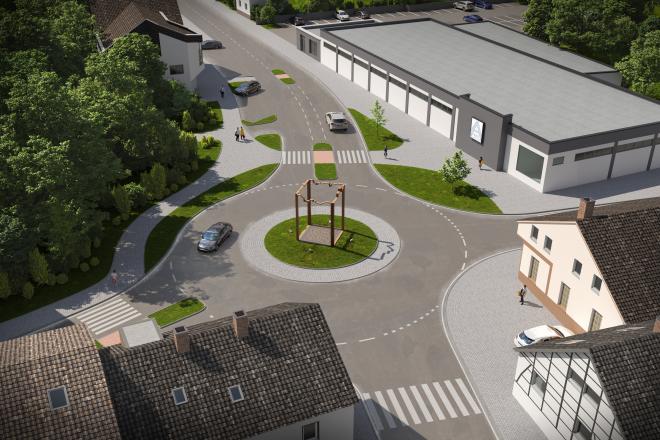 Fotomontage: Draufsicht auf den neuen Kreisverkehr