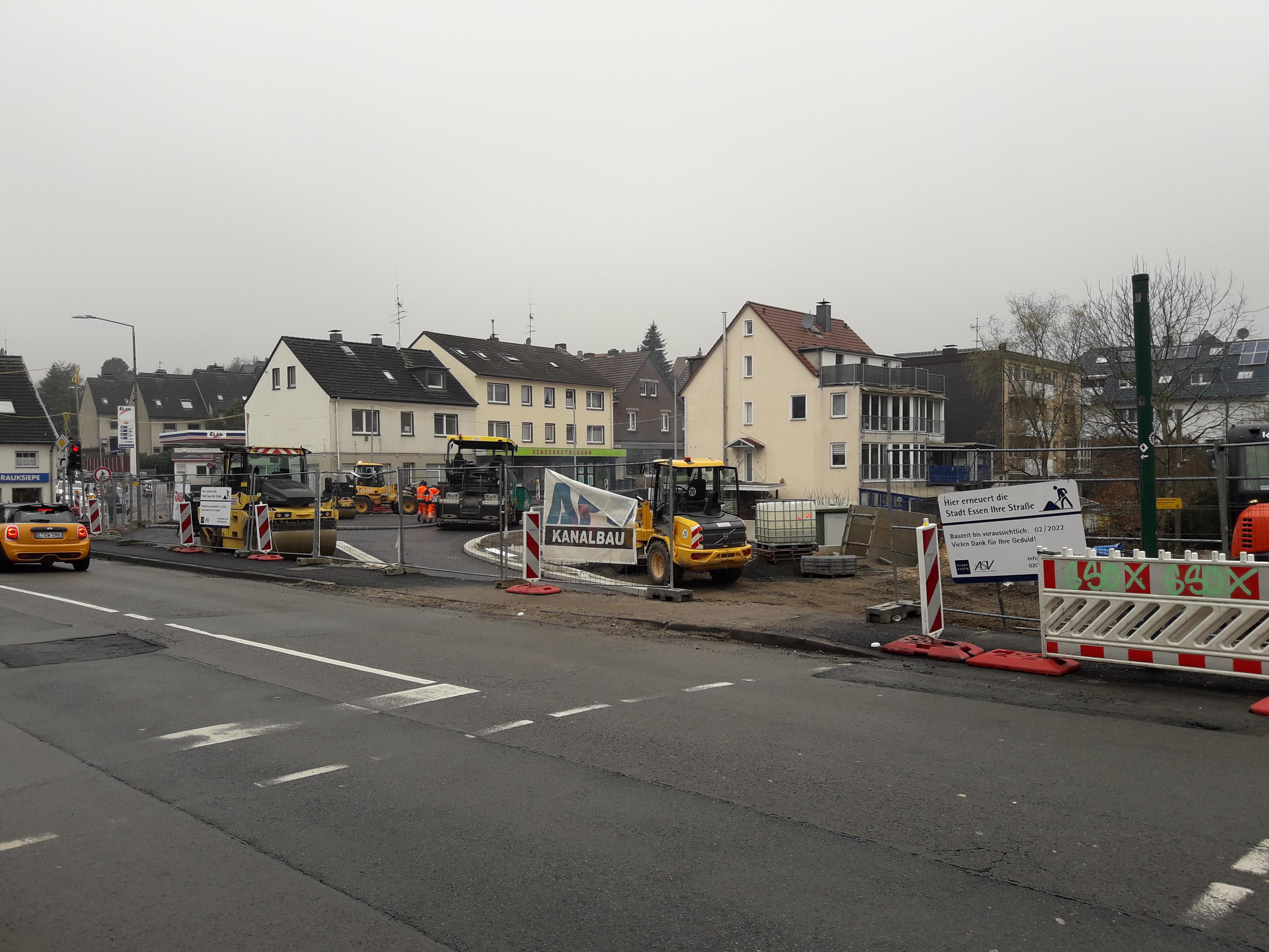 Foto: Blick auf die Bauarbeiten an der Alten Hauptstraße