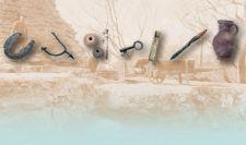 Ausgegrabene Objekte: Hufeisen, Reitersporn, Spinnwirtel, Schlüssel, Messergriff, Geschossspitze und Krug (von links nach rechts)
