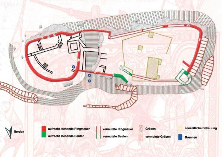 Lageplan von Gräben und Mauern an der Isenburg Essen