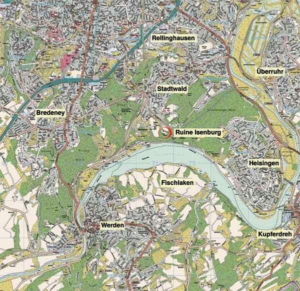 Lageplan der Isenburg Essen um 2002