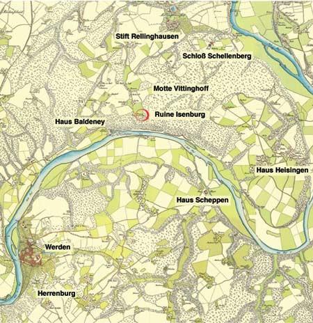Lageplan der Isenburg Essen um 1800
