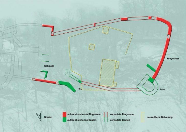 Lageplan der Vorburg der Isenburg Essen