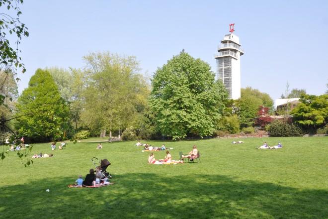 Besucher sitzen auf der Kranichwiese im Grugapark