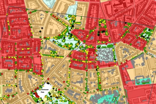 Grafik: Ökosystemleistungen von Bäumen vor und nach Ela in Frohnhausen