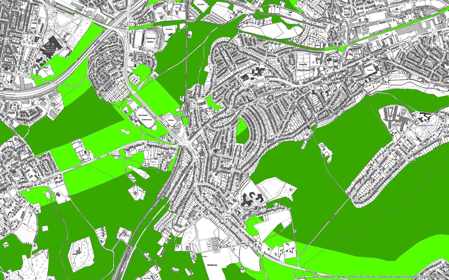 beispielhafte kartografische Darstellung der Ökosystemleistung Schadstofffilterpotential des Essener Waldes
