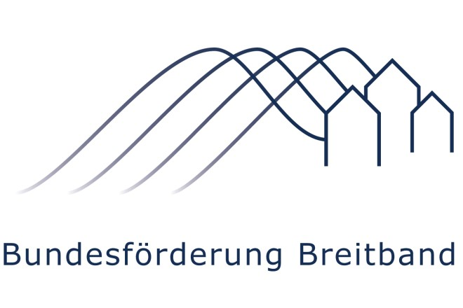 Logo und Schriftzug: Bundesförderung Breitband