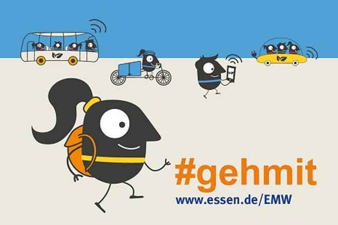 Grafik mit Text: Verschiedene Formen alternativer Mobilität mit Text '#gehmit, www.essen.de/emw'