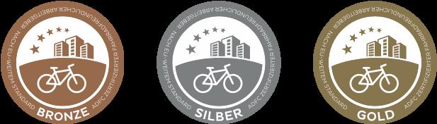 Medaillien des Fahrradfreundlichen Arbeitgeber