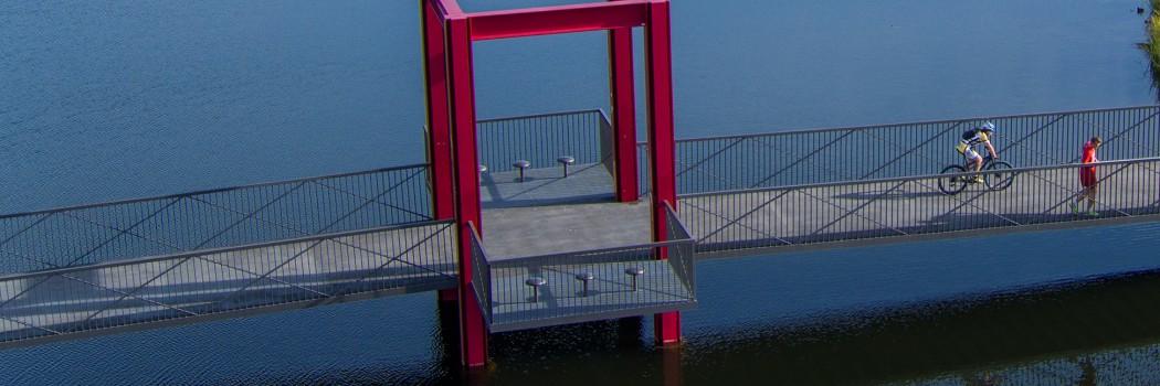Luftbild: Abschnitt des RS1, Brücke über den Niederfeldsee