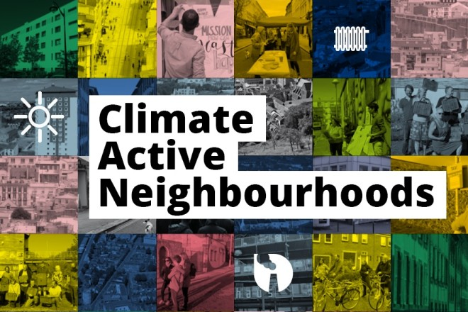 Gestaltete Fotomontage mit dem Schriftzug: Climate Active Neighbourhoods