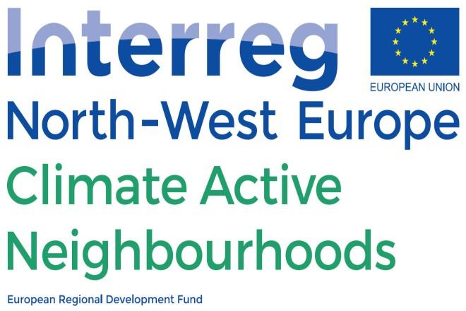 Text: Interreg North-West Europe, Climate Active Neighbourhoods, European Regional Development Fund